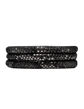 Cord, 70 cm, SILVER BLACK, Leather