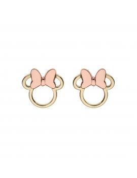 9 kt. guld ørestikker Minnie Mouse med rosa sløjfe.