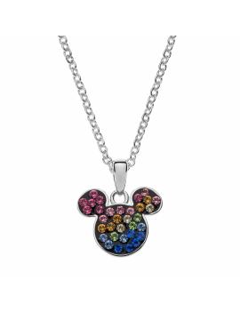 Sølv halskæde Mickey Mouse med forskellige farver. Kæden i længde 35-38-40-42 cm.