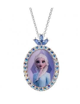 Sølv halskæde oval med Elsa med syntetisk cubic zirconia på toppen. Kæden i længde 35-38-40 cm.