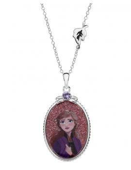 Sølv halskæde oval med Anna. Kæden i længde 35-38-40 cm.