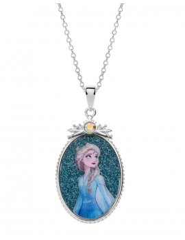 Sølv halskæde oval med Elsa i kjole. Kæden i længde 35-38-40 cm.