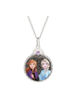 Sølv halskæde cirkel med Anna og Elsa. Kæden i længde 35-38-40 cm.