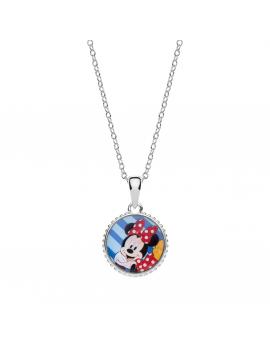Sølv halskæde cirkel med Minnie Mouse foran og tekst minnie med hjerte på bagside. Kæden i længde 35-38-40 cm.