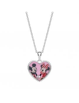 Sølv halskæde hjerte med Mickey og Minnie Mouse. Kæden i længde 35-38-40 cm.