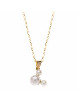9 kt. guld halskæde Mickey Mouse med ferskvandsperle. Kæden er sølvforgyldt i længde 38 cm.