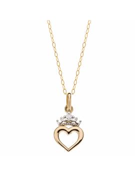 9 kt. guld halskæde krone med hjerte. Kæden er sølvforgyldt i længde 38 cm.