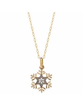 9 kt. guld halskæde Frozen snefnug. Kæden er sølvforgyldt i længde 35-38-40 cm.
