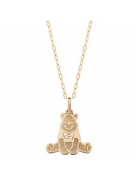 Forgyldt halskæde med 9 kt. guld vedhæng med Peter Plys. Kæden er sølvforgyldt i længde 35-38-40 cm.