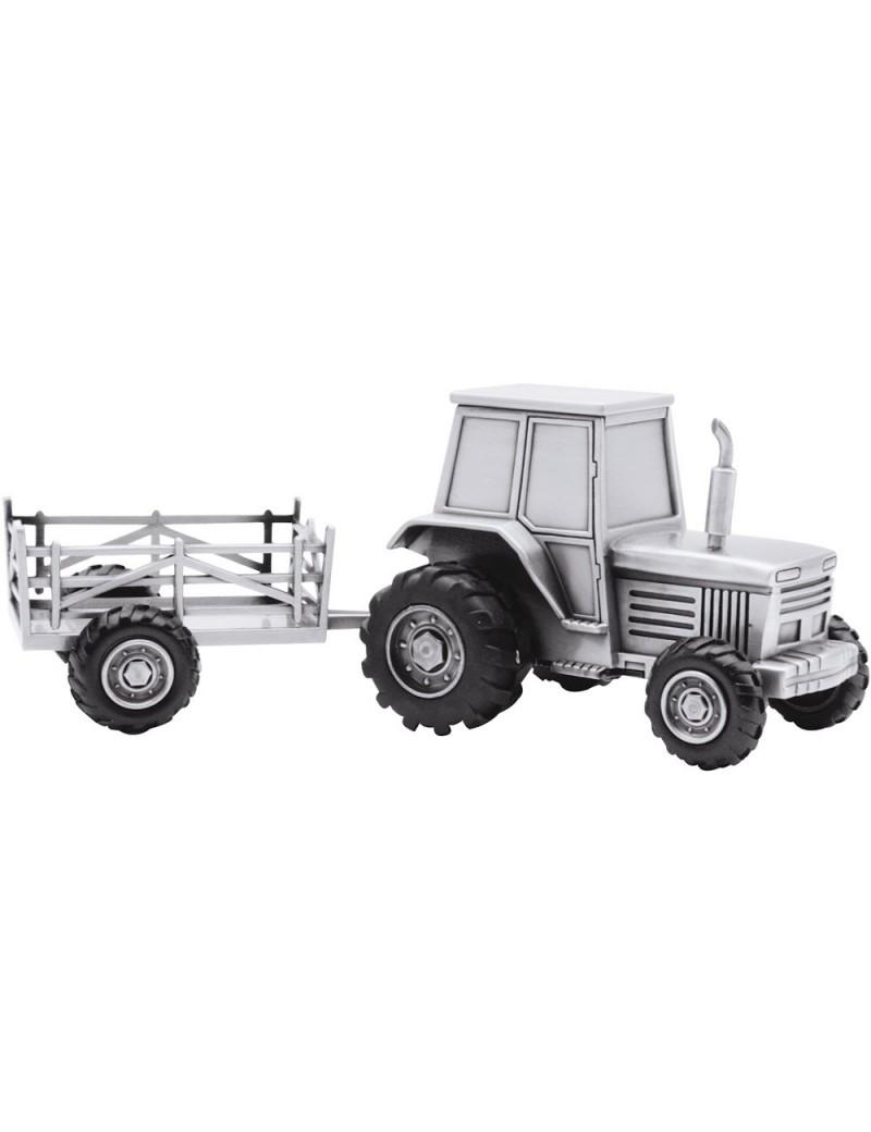 Sparebøsse - Traktor med Vogn i Sølvplet