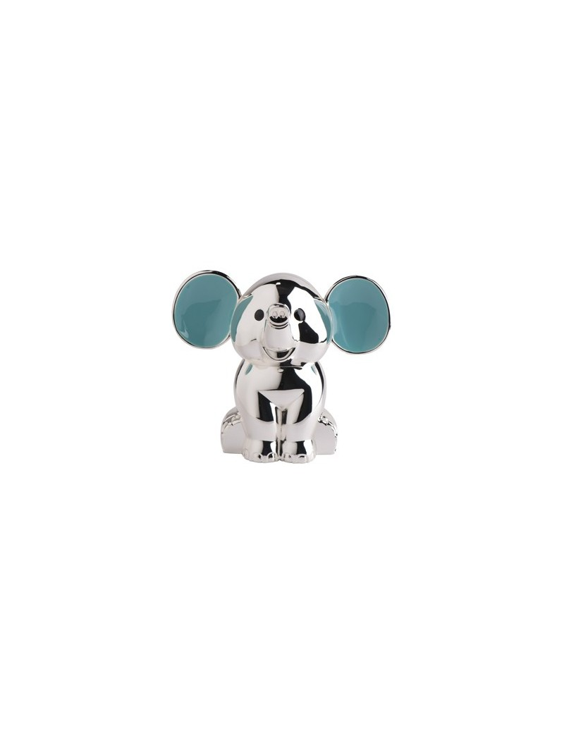 Sparebøsse - Elefant med blå øre i Sølvplet