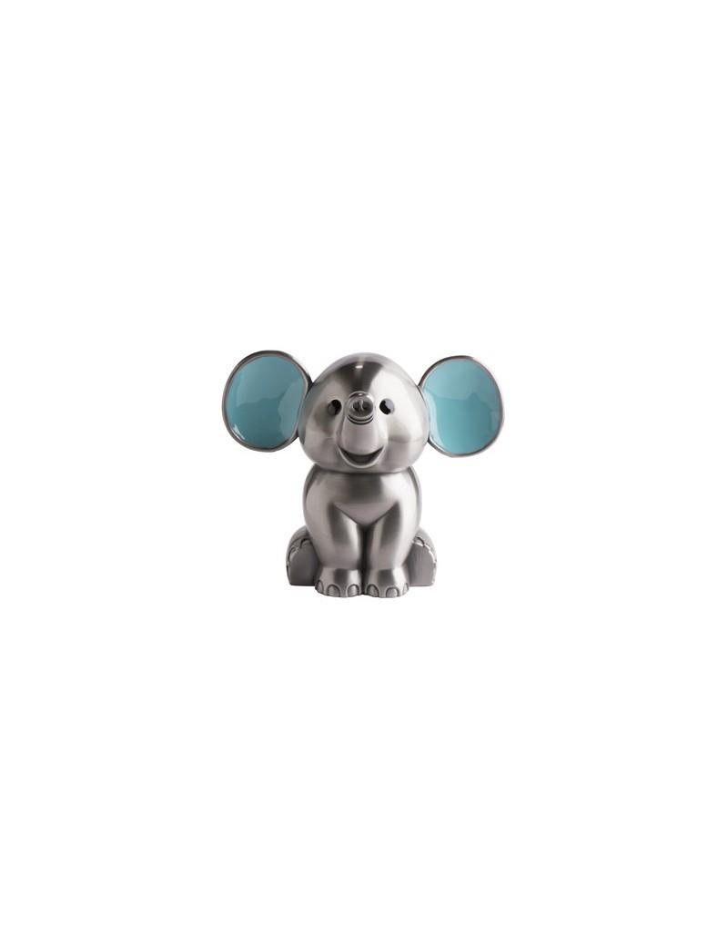 Sparebøsse - Elefant med blå øre Fortinnet
