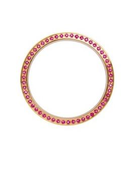 Guld topring, 54 pink safirer,