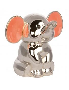 Sparebøsse - Elefant med Pink Øre i Sølvplet