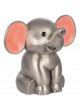 Sparebøsse - Elefant med Pink Øre Fortinnet