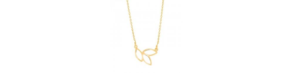 Smukke halskæder i sølv, forgyldte, læder og guld