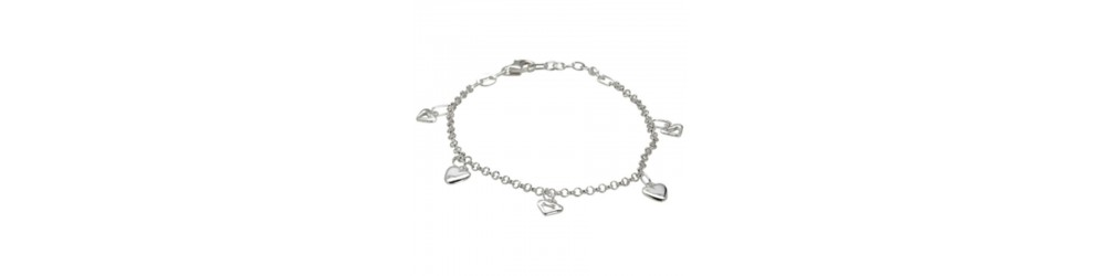 Smukke armbånd i sølv, forgyldte, læder og guld.